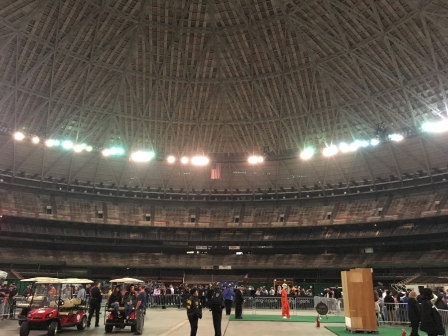 Members of the public gather for a tour of the Houston Astrodome in 2018. (Shawn Arrajj/Community Impact Newspaper)