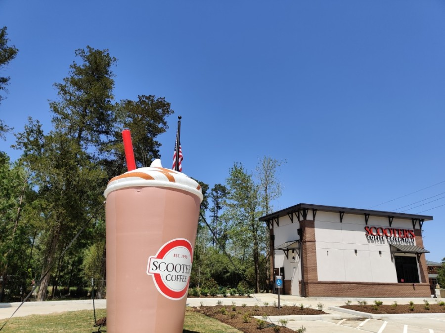 Scooter's Coffee's newest drive-thru location launched March 29 in the Creekside Park West development. (Ben Thompson/Community Impact Newspaper)