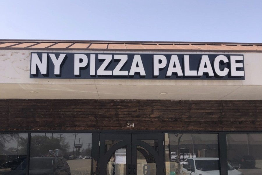 Current menu options, including specialty white spicy chicken and Greek pizzas, are expected to move over with NY Pizza Palace to its new location at 2141 W. Park Blvd., Plano, where Fino Italian Bistro was previously. (Community Impact Newspaper staff)