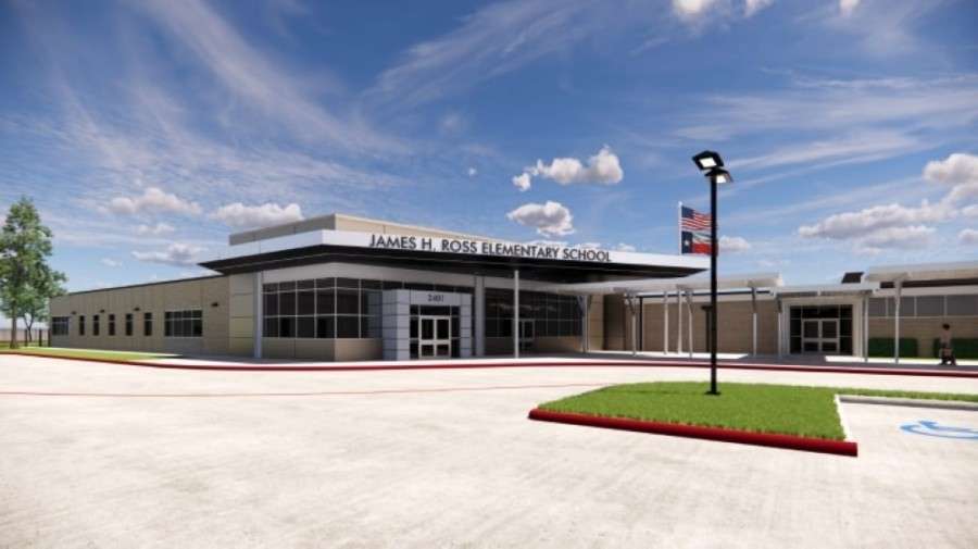 Ross Elementary School will eventually have an administrative wing to give the school a more obvious entrance and more of a presence for street traffic. (Rendering courtesy Huckabee)