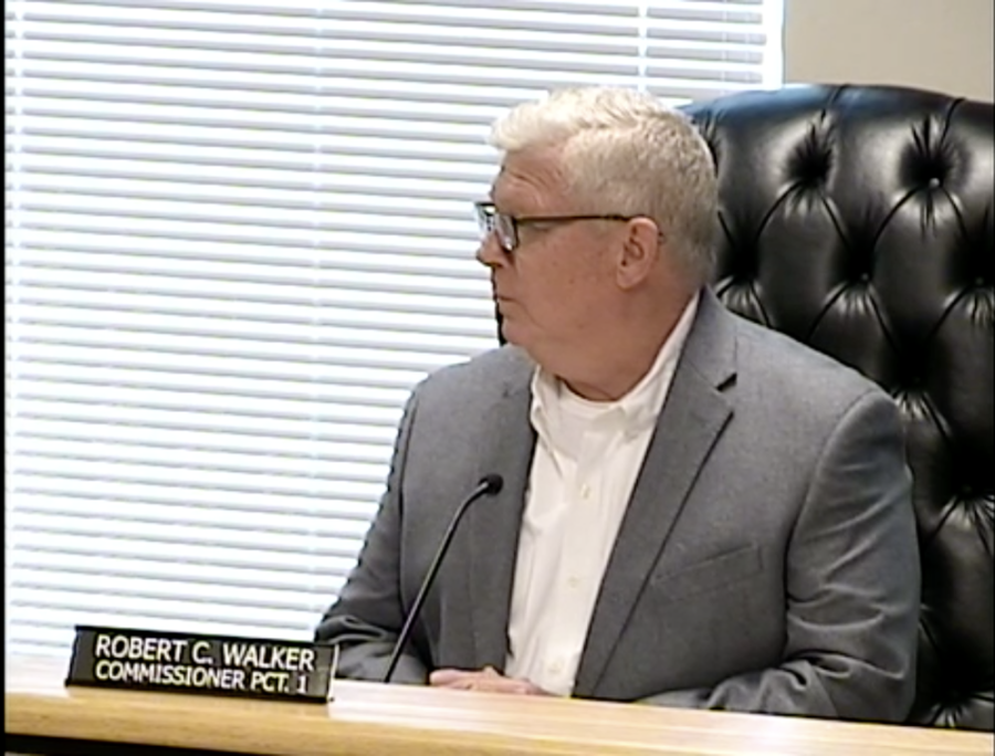 Precinct 1 Commissioner Robert Walker speaks during a March 30 special session. (Screenshot via Montgomery County livestream)