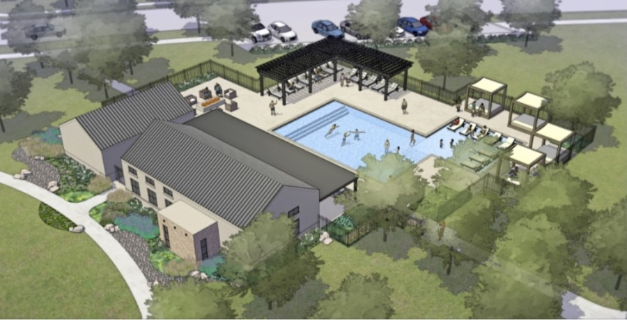 The Amenity Center at Highland Lakes will offer a pool, a fitness center and park. (Rendering courtesy Taylor Morrison)