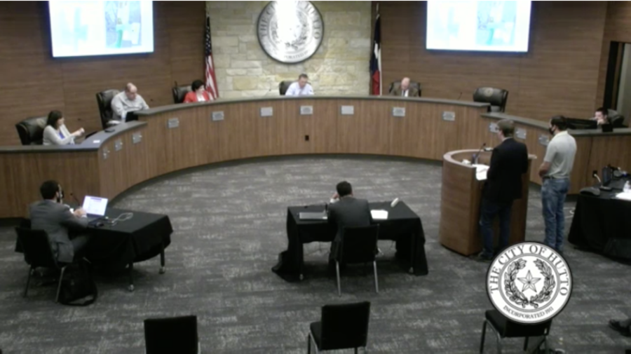 Hutto City Council discussed an Economic Development Corporation report during its April 1 meeting. (Screenshot courtesy City of Hutto)