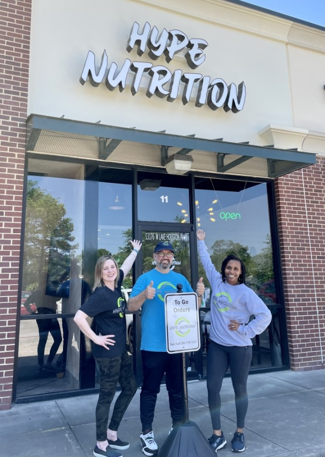 From left: Owners Leesa and Patrick Shanahan run Hype Nutrition with business partner Shana Huff. (Courtesy Hype Nutrition)