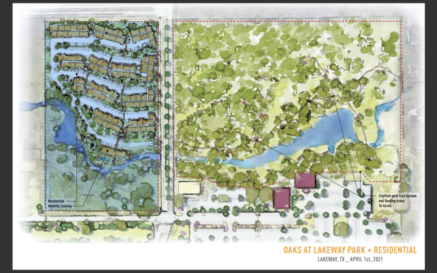 Stratus Properties presented to Lakeway City Council on April 5 renderings that show an extension of Main Street along with the construction of apartments and a public park on land it owns behind The Oaks shopping center. (Courtesy Stratus Properties)