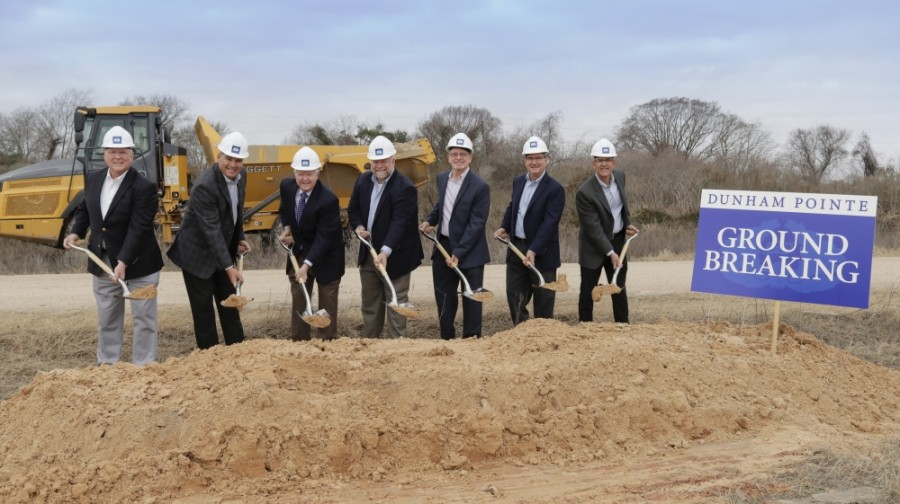 Archie Dunham (third from left) celebrates the ground breaking at Dunham Pointe alongside homebuilders and local government officials. (Courtesy Dunham Pointe)