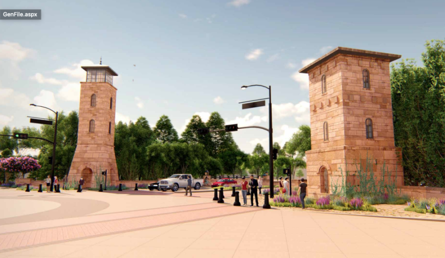 Rendering of stone towers on either side of Colleyville Boulevard