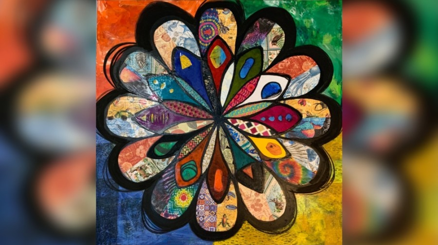 """Flower of Diversity,"" a mixed-media college and acrylic paint on canvas piece by Rhonda Radford Adams, will be one of the six works featured in a mural at the University of Houston at Sugar Land. (Courtesy Reginald Adams/Diversity Over Division)"