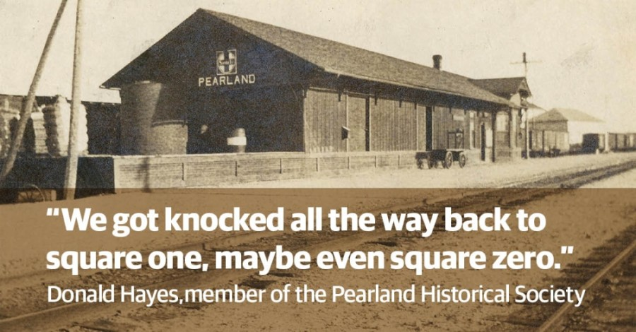 Work on renovating the Pearland train depot has halted due to COVID-19. (Photo courtesy the Pearland Historical Society, graphics by Justin Howell/Community Impact Newspaper)