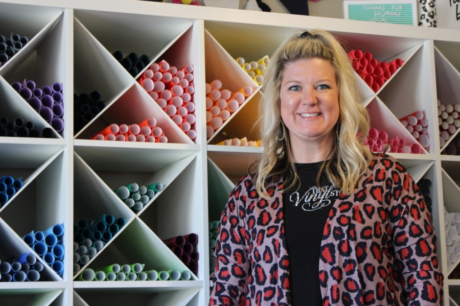 Patti Ashcraft has been the owner of That Vinyl Store since she purchased the business in October 2019. (Photos by Haley Morrison/Community Impact Newspaper)