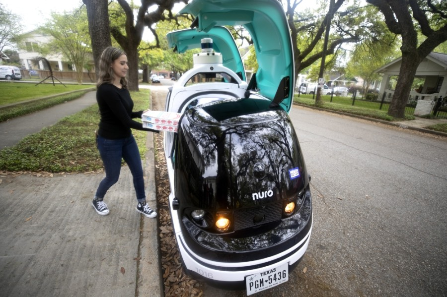 R2, an autonomous delivery vehicle by Nuro, is delivering Domino's pizza to select customers in the Heights area starting April 12. (Courtesy Domino's)