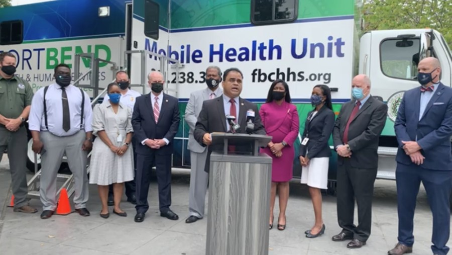 Fort Bend County's Mobile Health Unit will administer vaccinations in portions of the county that are economically disadvantaged or lack access to transportation, said County Judge KP George. (Screenshot courtesy Fort Bend County)
