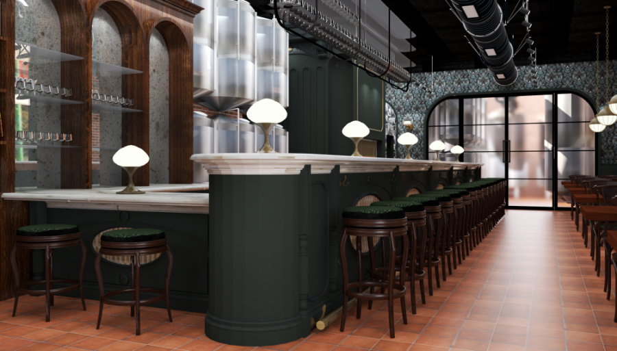 Beers will be served directly from five-barrel serving tanks behind the bar. (Rendering courtesy Fass Brewing)