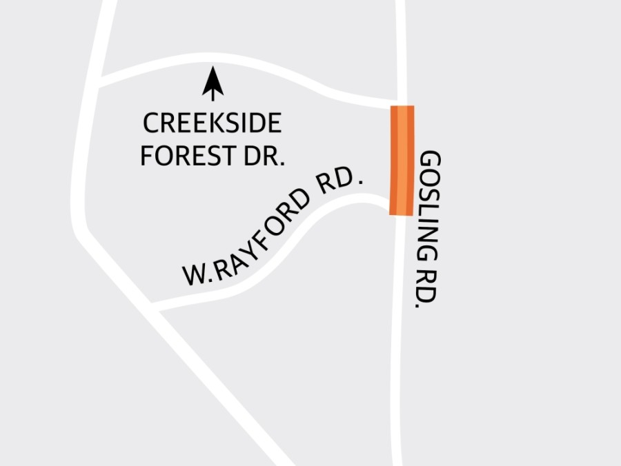 Harris County Precinct 4 will upgrade the two-lane asphalt section of Gosling Road between West Rayford Road and Creekside Forest Drive to a four-lane concrete boulevard with improved drainage and traffic signal installation and modification. (Graphic by Ronald Winters/Community Impact Newspaper)