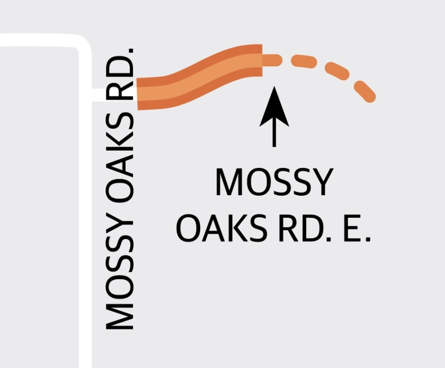 Harris County Precinct 4 is studying a project that will expand and extend Mossy Oaks Road East from just east of Mossy Oaks Road to 2,525 feet east of the current end of Mossy Oaks Road East. (Graphic by Ronald Winters/Community Impact Newspaper)