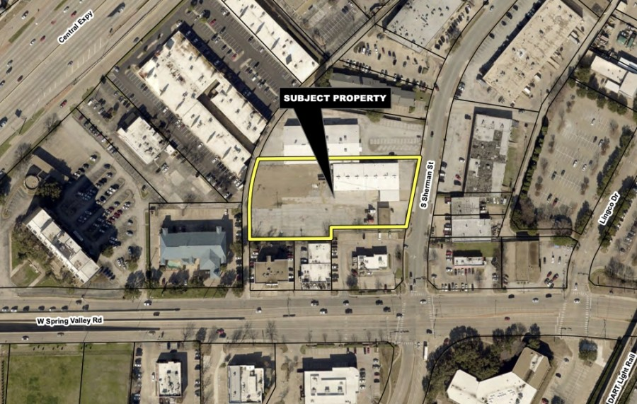 As the first building for a restaurant on the 2-acre lot nears completion, developers at 820 and 850 S. Sherman St. in Richardson have reevaluated the rest of the property, which prompted these zoning requests, a city memo stated. (Screenshot via city of Richardson)