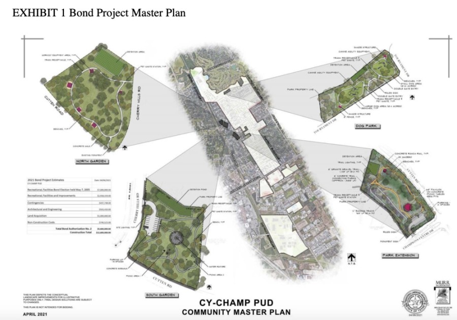 The concept, which is subject to change, would provide walking trails, a running track, pavilions for gathering, barbecue equipment, workout equipment and possibly a dog park facility, Walkoviak said. (Courtesy Cy-Champ PUD)