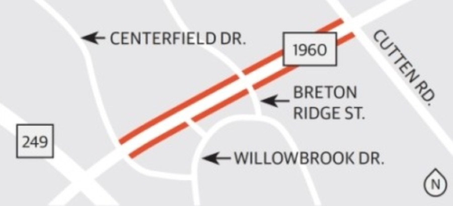 The project will add dual left-turn lanes at Cutten Road, Breton Ridge Street and the Willowbrook Mall entrances as well as lengthen all turning lanes on FM 1960 between Centerfield Drive and Cutten Road to provide additional space for vehicles. (Graphic by Ronald Winters/Community Impact Newspaper)