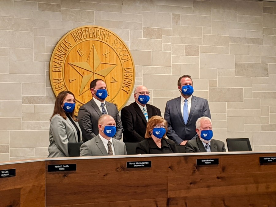 The New Braunfels ISD board of trustees (Lauren Canterberry/Community Impact Newspaper)