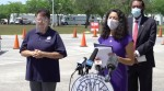 Harris County Judge Lina Hidalgo speaks at an April 19 press conference at a mass-vaccination site at NRG Park. (Screenshot courtesy Facebook Live).