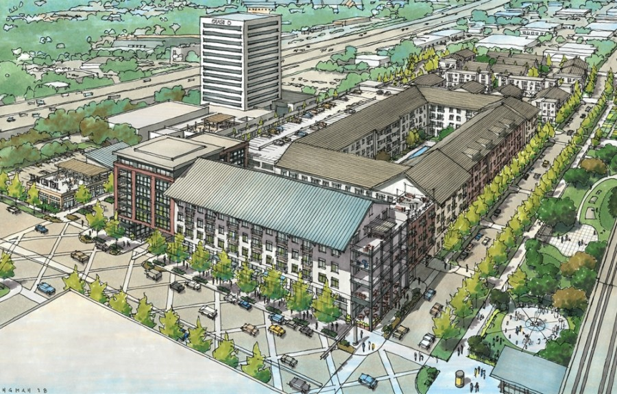 The Belt Main development will include 15,000 square feet of restaurant and retail space, 350 multifamily units and around 100 townhomes. (Rendering courtesy Catalyst Urban Development)