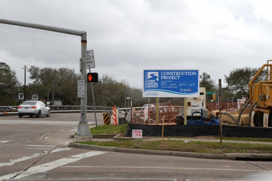 Bridges on Chimney Rock Road and South Rice Avenue will soon see lane reductions for a flood reduction project. (Hunter Marrow/Community Impact Newspaper)