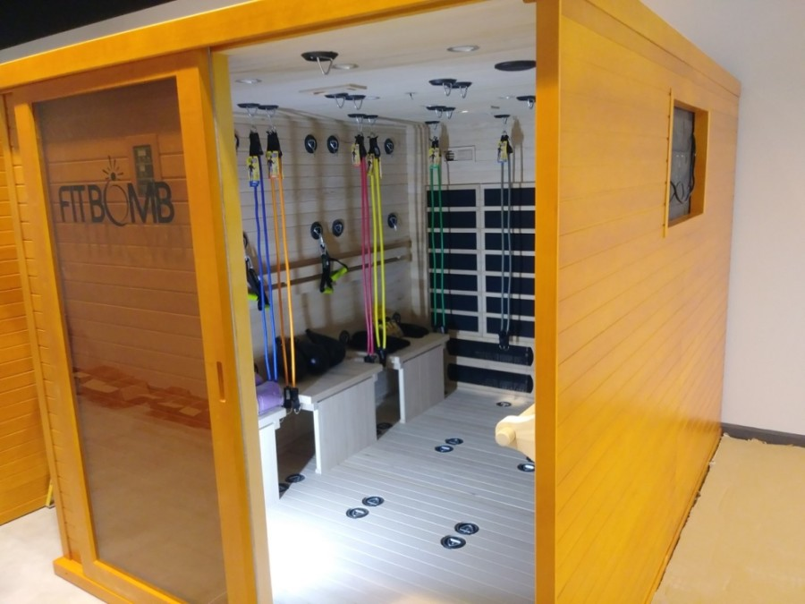 Six Fitbomb rooms will allow patrons to train in an infrared sauna with workout videos ranging from yoga to mixed martial arts. (Courtesy Euro Glo and Fit Spa)