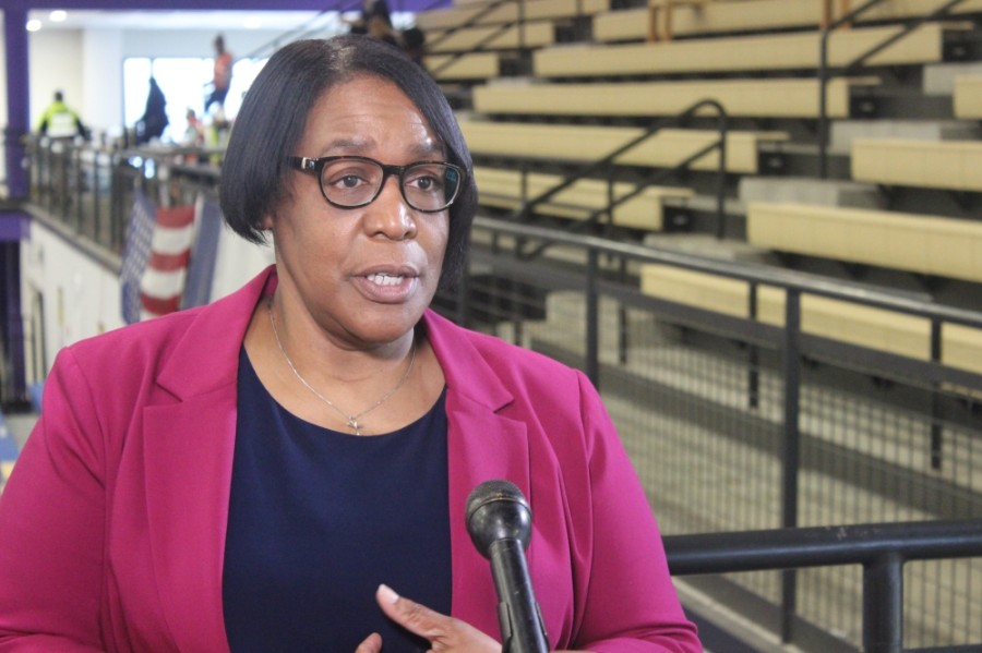 Austin Public Health Director Stephanie Hayden-Howard speaks to reporters March 13 at the Delco Actiity Center in Northeast Austin. Residents can walk up to the Delco Center on April 22 and 23 and receive vaccines without an appointment. (Jack Flagler/Community Impact Newspaper)