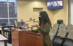 Kyle Communications Director Samantha Armbruster addresses City Council on April 20. (Brian Rash/Community Impact Newspaper)
