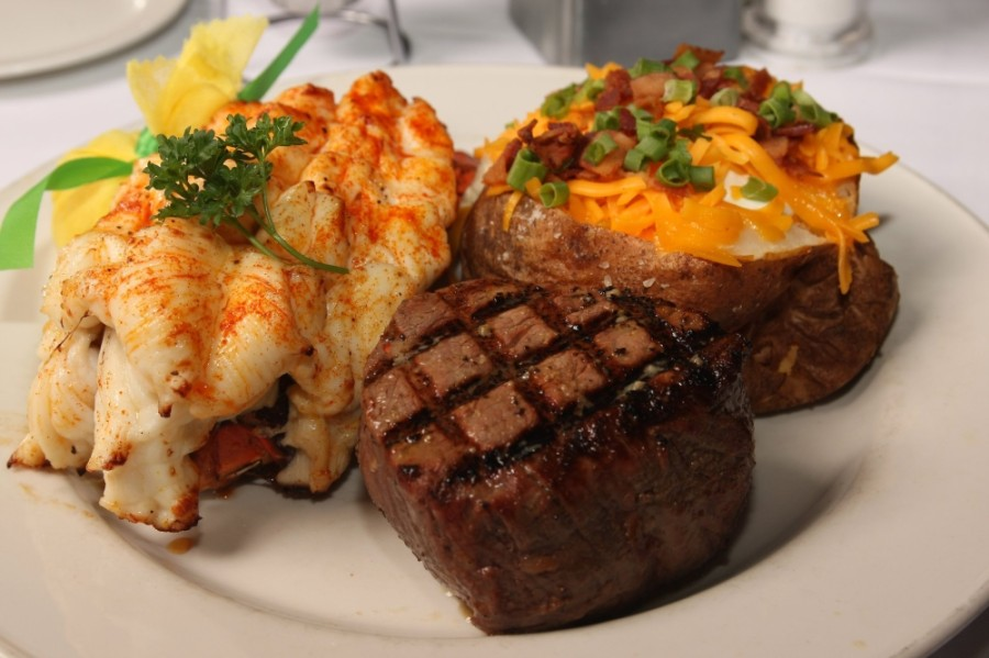Steak and lobster dish.