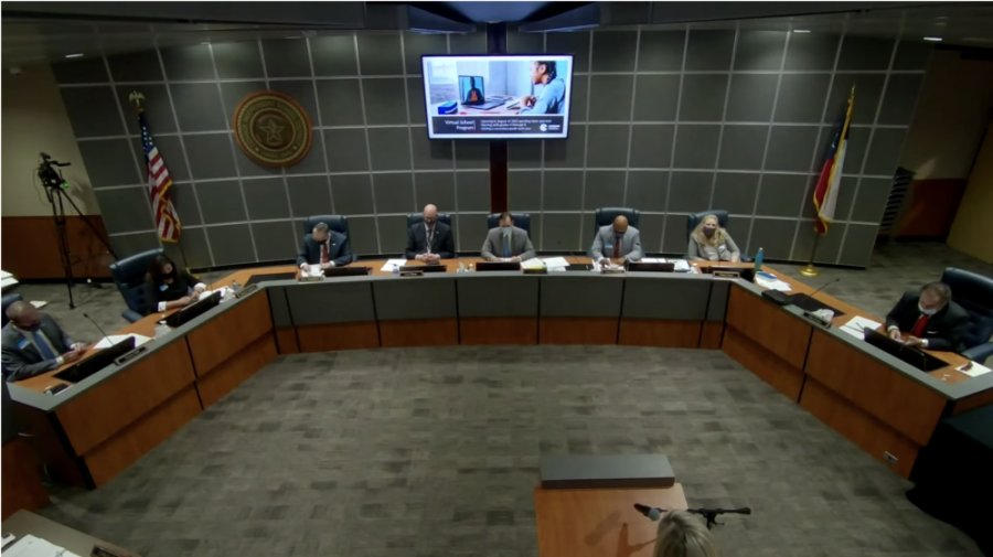 The CISD board of trustees met April 20 and discussed the naming process for new campuses. (Screenshot via YouTube)