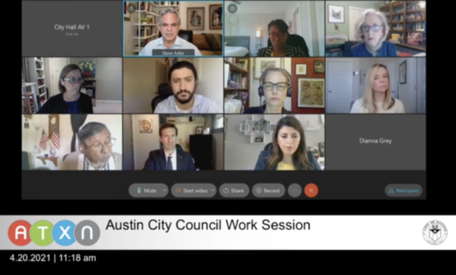 Austin City Council members met for a work session April 20 ahead of the body's regular April 22 session. (Screenshot via city of Austin)