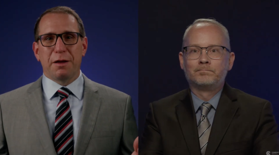 Conroe ISD Superintendent Curtis Null and William Kelly, the district's hire to be principal of the new virtual school, discuss plans for virtual schooling during an April 22 update. (Screenshot vis YouTube)