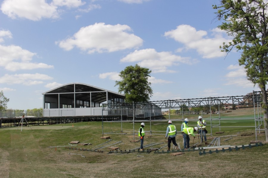 In early April crews work to ready TPC Craig Ranch for the upcoming AT&T Byron Nelson tournament. (Miranda Jaimes/Community Impact Newspaper)