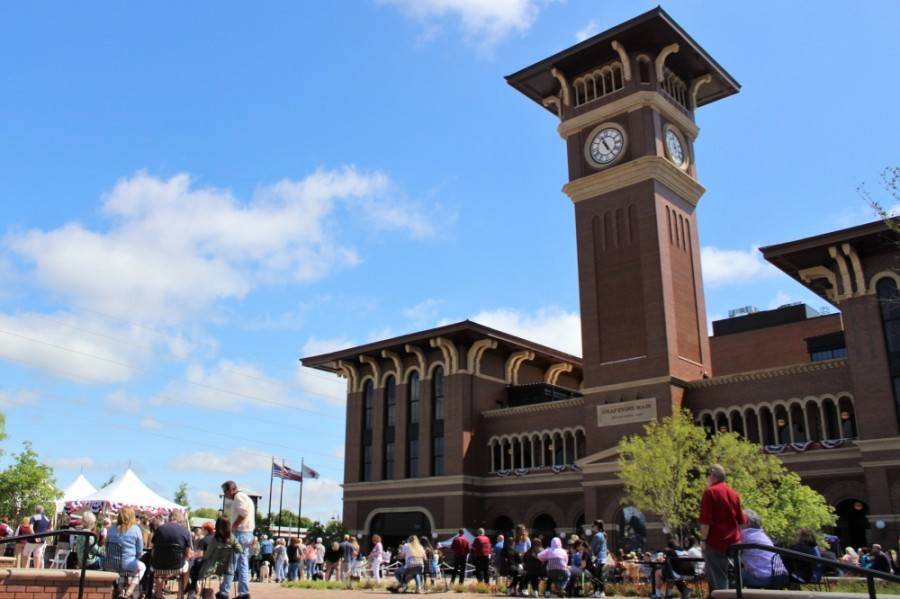 Grapevine Main Station is a $114 million project located in the heart of historic downtown Grapevine. (Sandra Sadek/Community Impact Newspaper)