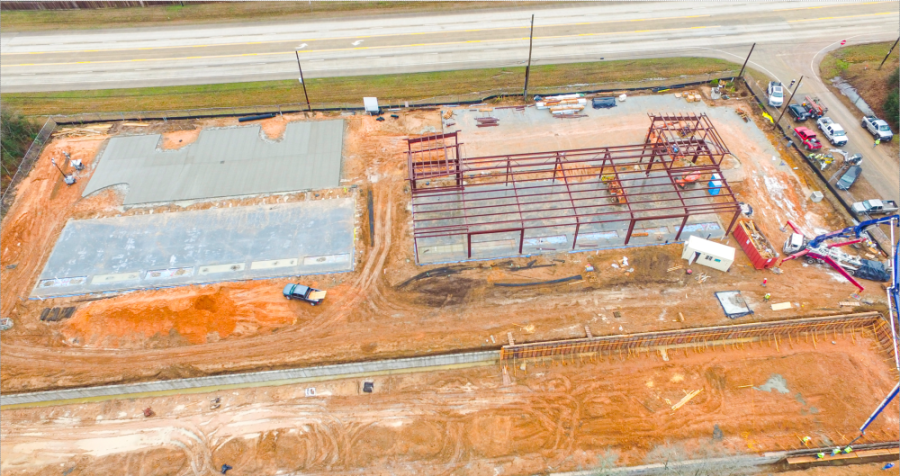 Hackberry Plaza is under construction on FM 1488. (Courtesy The J. Beard Real Estate Co.)
