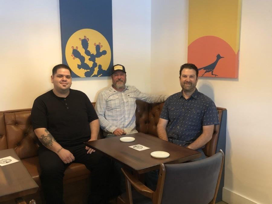 From left: Chef Juan Ramirez and owners Cody Hirt and Brad Strittmatter opened the restaurant in 2020. (Fernanda Figueroa/Community Impact Newspaper)