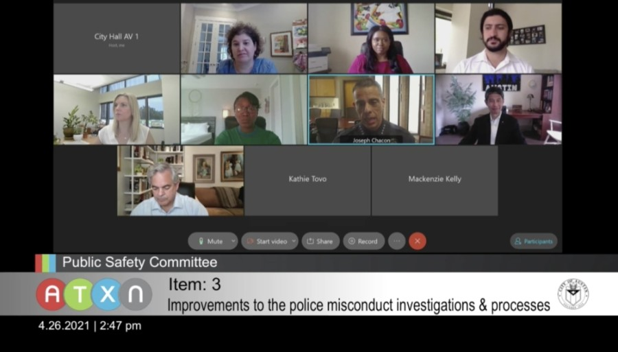 Interim Police Chief Joseph Chacon and Farah Muscadin, director of the Office of Police Oversight, met virtually with City Council April 26 to discuss the two departments' working relationship when handling investigations. (Screenshot via City of Austin)