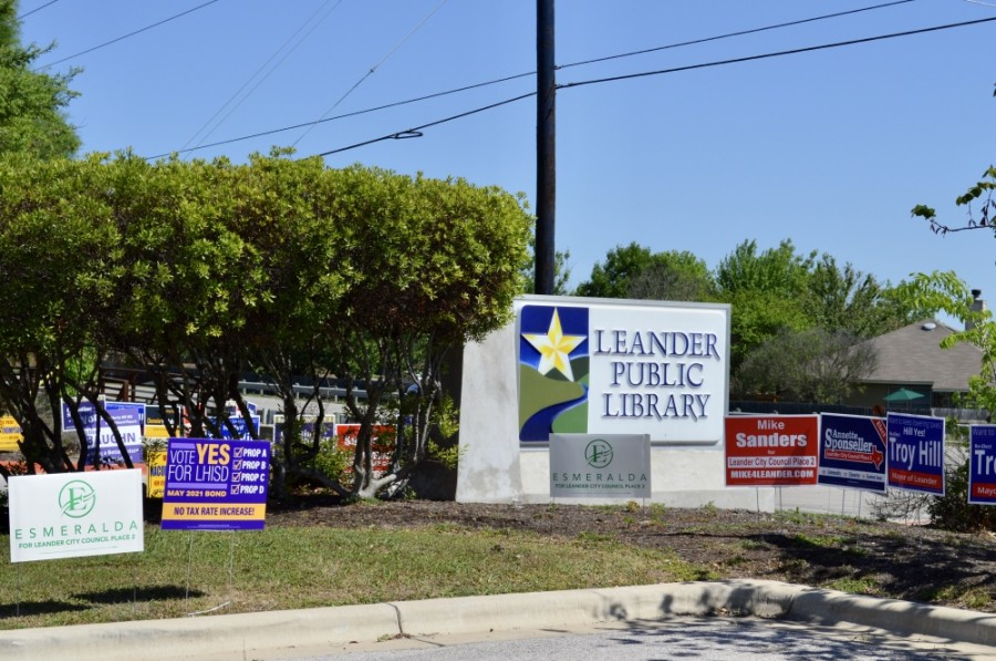 Leander Public Library voting signs