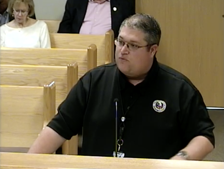 Jason Millsaps, executive director of the Montgomery County Office of Emergency Management, spoke during an April 24 commissioners court meeting. (Screenshot via Montgomery County livestream)