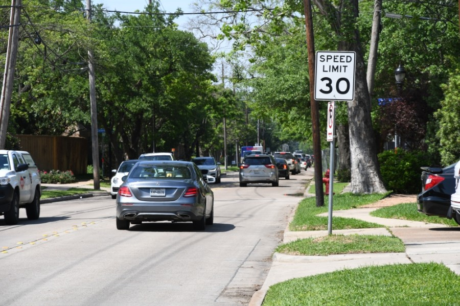 The city of West University Place has taken the first step in reducing its speed limit on roads within its city limits, like Weslayan Street. (Hunter Marrow/Community Impact Newspaper)