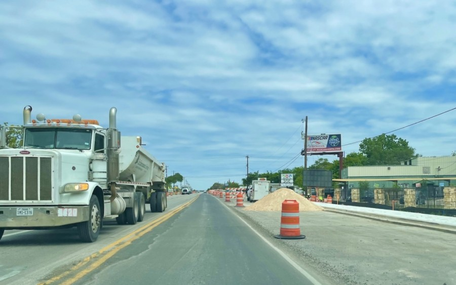 Work on Menchaca Road in South Austin will continue through May but could be finished before the summer. (Nicholas Cicale/Community Impact Newspaper)