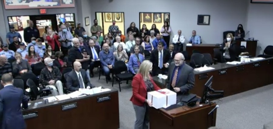 City Attorney Marcus Winberry was recognized for his service at an April 22 City Council meeting. (Screenshot via Conroe City Council livestream)