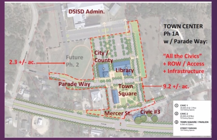 Dripping Spring's Town Center Project would create a new city hall facility as well as city library, parking and a town square. (Concept plan courtesy the city of Dripping Springs)