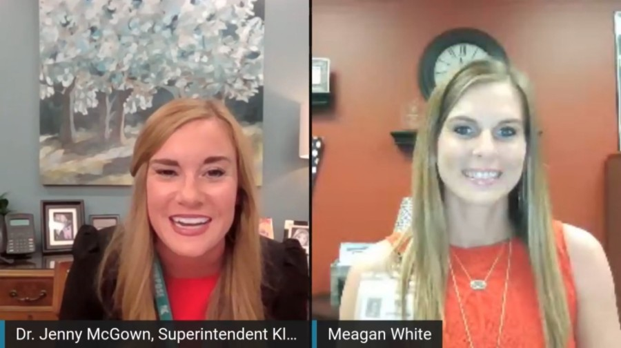 Klein ISD Superintendent Jenny McGown (left) named Meagan White (right) principal of the district's new tuition-free, online school, Klein Virtual Academy, in a Facebook Live event April 29.