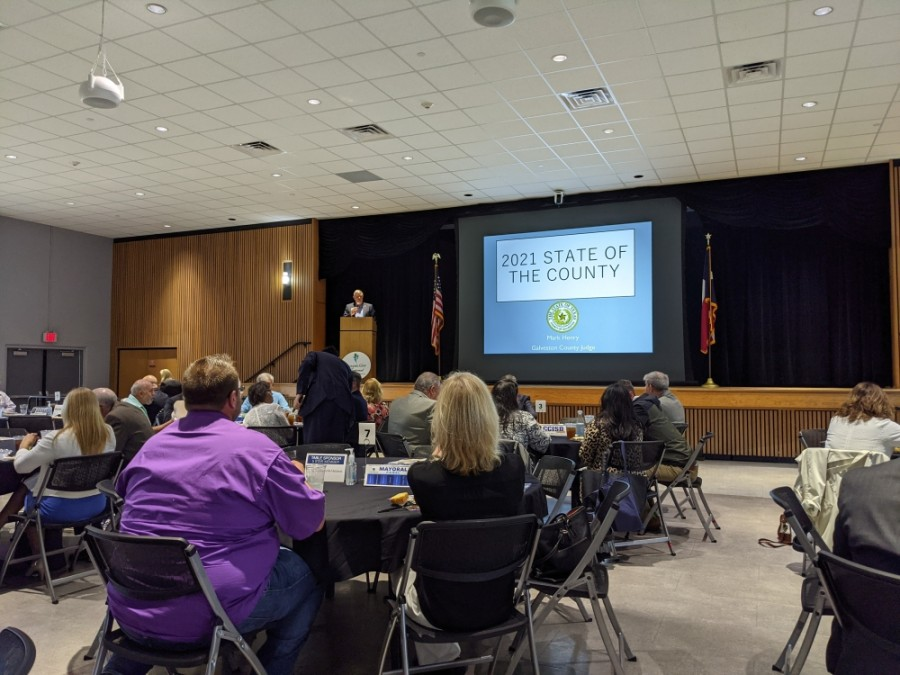 Galveston County Judge Mark Henry had nothing but good things to share during his State of the County address. (Jake Magee/Community Impact Newspaper)