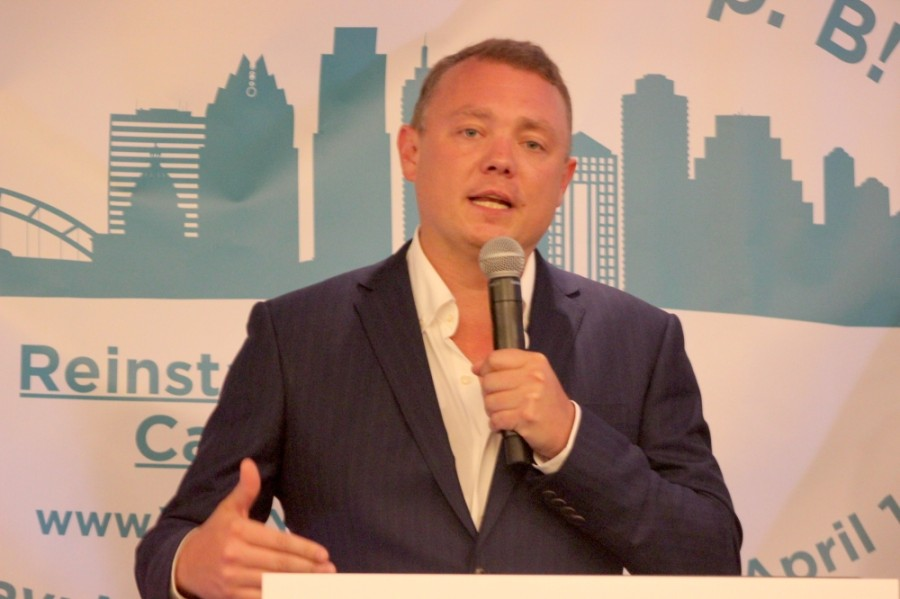 Matt Machowiak, co-founder of the Save Austin Now political action committee behind Proposition B, spoke about the ballot measure and city leadership at a downtown victory party May 1. (Ben Thompson/Community Impact Newspaper)