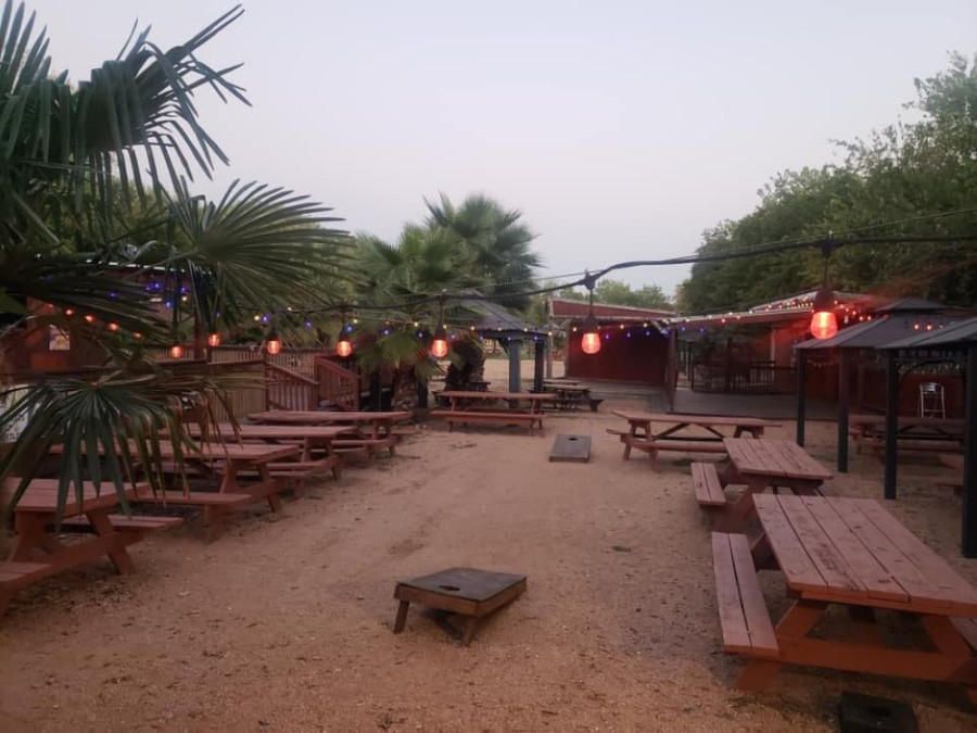 The neighborhood sports bar has outdoor live music and games. (Courtesy 685 Backyard)