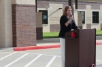 Superintendent Martha Salazar-Zamora speaks at a ribbon-cutting ceremony for Grand Oaks Elementary School in September. (Anna Lotz/Community Impact Newspaper)