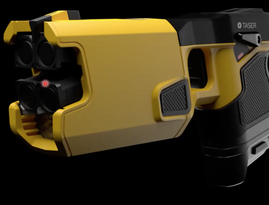 A bright yellow taser